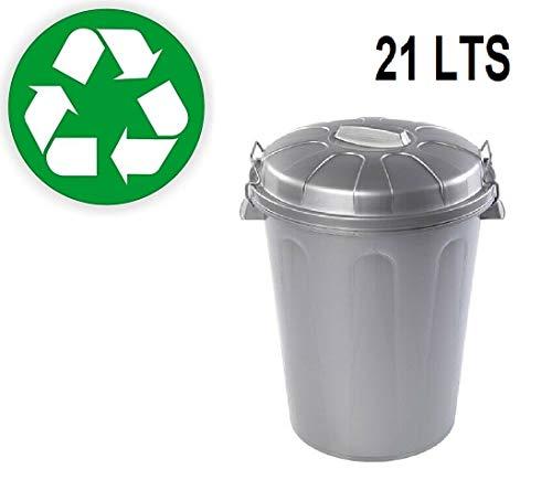 Plastiforte Cubo de Basura con Tapa 21 LTS litros Basurero Gris Plata Asas de Presión