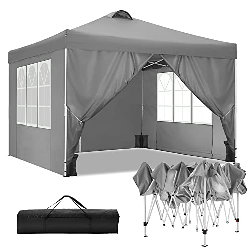TOOLUCK Faltpavillon Wasserdicht Dachmaß 3x3m Pavillon Partyzelt Gartenpavillon mit Entlüftung, 4 Seitenteilen und 4 Sandsack, Grau