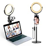 elitehood Ring Light for Computer & Laptop – Video Conferencing Lighting, Desk Circle Light with Metal Stand and Phone Holder for Selfie, Video Recording, Webcam, Zoom Call Meeting, Live Stream
