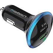 Maxboost 30W Dual USB Car Charger, Quick Charge 2.0 USB for Galaxy S10/S10+/S10e/S9/S8/Edge/Plus/Note 9 8, 2.4A Smart Port for iPhone Xs/XS Max/XR/X/8/7/6/Plus, iPad Pro/Air,LG G7 Nexus, HTC(M-AL-TC)