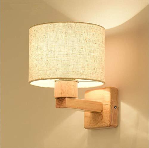 YLCJ wandlamp wandlamp wandlamp wandlamp van hout met lampenkap van stof voor de slaapkamer woonkamer moderne slaapkamerklassieker versieren lampen