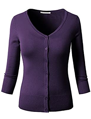 H2H Womens Casual 3/4 and Long Sleeve Crew Neck Down Knit Cardigan
