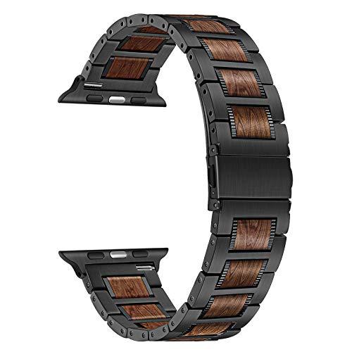 TRUMiRR Kompatibel mit Apple Watch Series 6/SE 44mm Holz Armband, Edelstahl & Natürliche Walnuss Holz Uhrenarmband Quick Release Ersatzband für iWatch Apple Watch SE Series 6 5 4 3 2 1 44mm 42mm