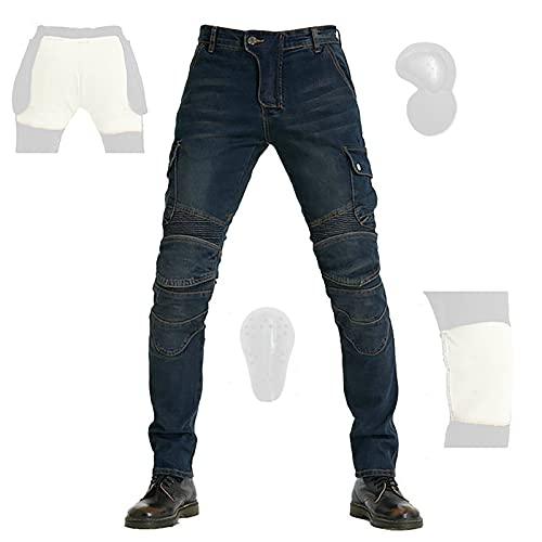 CYLZRCl Nuevos Pantalones Vaqueros Montar Moto Pantalones Moto Pantalones Elásticos Ajustados Carreras Motocross con Armadura CE Extraíble, Ventilado (Color : Blue, Tamaño : XXS)