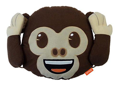 Emoji Cojín de poliéster con Dise&ntilde Mono, con Varias posturas, Color marrón, 30 x 8 x 30cm