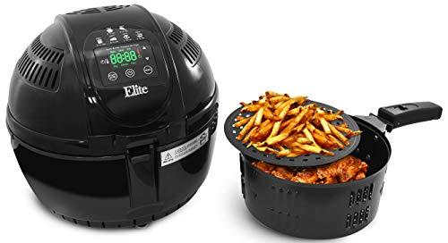 Elite Platinum EAF-2500D Dual Basket 3.5Qt Electric Digital Hot Air Fryer, 1400-Watts, Oil-Less Healthy Cooker, Temp/Timer Settings, PFOA/PTFE Free, Includes 26 Full Color Recipes, Black