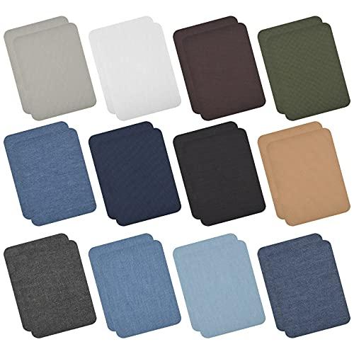24 Pezzi Toppe Termoadesive, Toppe per Jeans Vestiti Termoadesive Patch Kit di Riparazione in Tessuto Toppe in Denim Termoadesive per Tessuti per Maglietta Jeans Abbigliamento Borse Scarpe 12 Colore