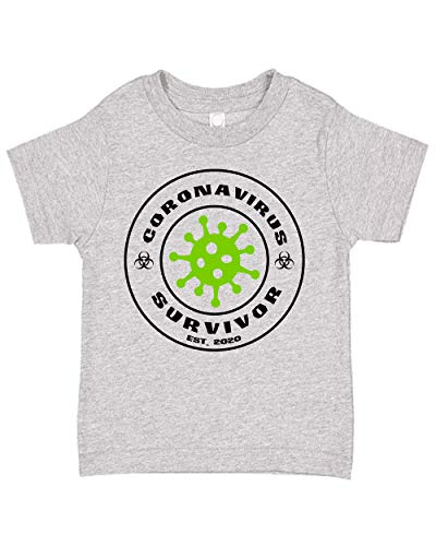 Ink Trendz Bio-Hazard Survivor est. 2020 Cute Cotton Toddler T-Shirt Tee (2T, Heather Grey)