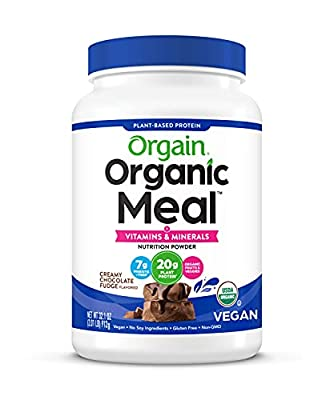 Orgain Organic Plant Based Meal Replacement Powder, Vegan, Gluten Free, Non-GMO, 2.01 Pound, 1 Count, Packaging May Vary