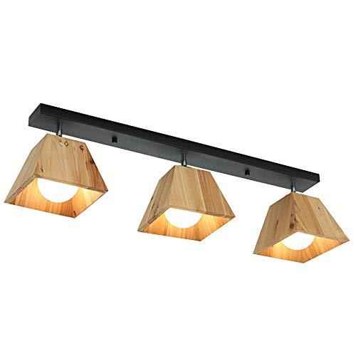 Houten plafondlamp, geometrische vorm, moderne plafondlamp van hout, tafellamp, creatieve vierkant, zwart, zuigplaat van smeedijzer, restaurant, woonkamer, kinderkamer, 360 graden graden Celsius.