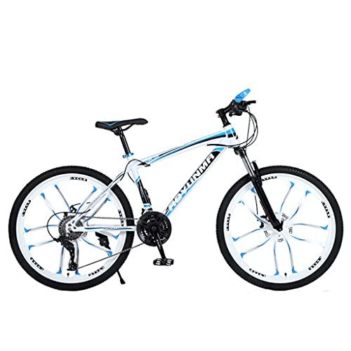 Mountain Bike Bicicleta de Doble absorción de Impactos y Doble Freno de Disco (24/26 Pulgadas 21/24/27 velocidades Blanco y Azul; Blanco y Negro; Negro y Rojo; Negro y Verde)