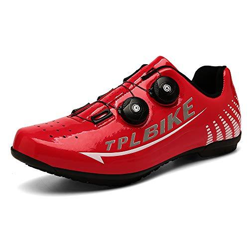 CHANGAN Zapatillas de Ciclismo para Carretera Plus, con Suela de y Sistema rotativo de precisión Suela Dura para Zapatos de Montar sin Bloqueo Red-45