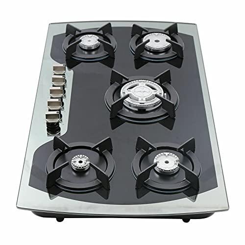 Edelstahl Gaskocher ,Campingkocher ,5-Flammen Campingkocher mit 5 Düsen enthalten,Glas Gasherd mit Turboflamme,Schwarz