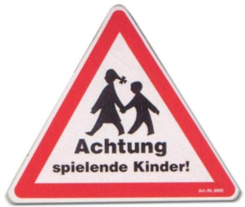 WB wohn trends Hinweis-Schild - Achtung spielende Kinder - Kind Warnschild Spielplatz Spielstraße Warn-Zeichen Arbeitssicherheit Tür-Schild Kunststoff-Schild Warn-Schild