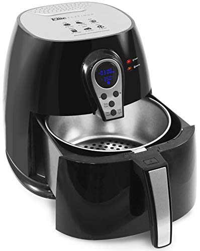 Elite Platinum EAF-05SS Digital 3.2Qt Hot Air Fryer, 304 Stainless Steel Basket, 1400-Watts, Oil-Less Healthy Cooker, Temp/Timer Settings, PFOA/PTFE Free, Includes 26 Full Color Recipes, Black