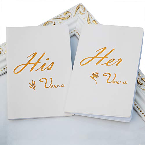 Advoult Vows Book,Vow Books Wedding,His & Hers Vow Book,Set of 2,White & Rose Gold