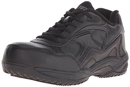 ADTEC Men's Black Lace Work Shoe - Composite Safety Toe, Slip Resistant, Breathable + Comfortable (Black, 11)