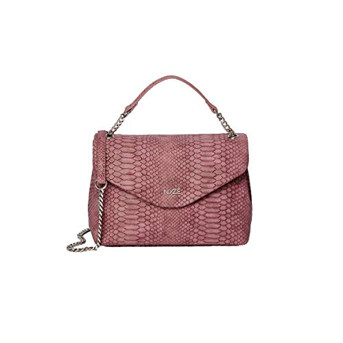 NYZE Damen Crossbody Snake by LauraJoelle - 100% Vegane Umhängetasche in Schlangen-Optik Rot
