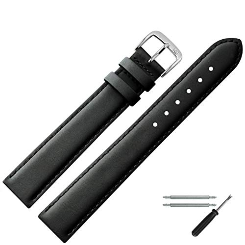 MARBURGER Uhrenarmband 14mm Leder Schwarz XL - Werkzeug Montage Set 6601410000120