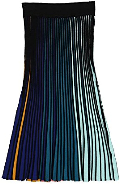 GAOLIM color Stripe color Knit Pleated Waist Skirt Half Skirt A Word Skirt
