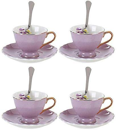 YBK Tech Euro Style Coffee Bar Espresso Cup and Saucer Set of 4 Bone China Porcelain Tea Coffee Cup for Home Kitchen Tea Party (90ml) (Purple)