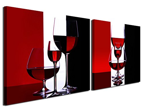 Gardenia Art - Wine Canvas Paintings Wall Art Pictures Abstract Wine Glass in Red Black White for Kitchen Bedroom Living Room Decoration, 12x12 inch per Piece, 2 Pieces per Set