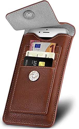 ONEFLOW Zeal Hülle kompatibel mit LG G7 ThinQ / G7 Fit Hülle mit Kartenfach 360 Grad R&um-Schutz Gürteltasche, Vegan Leder Sleeve Handyhülle Gürtel-Clip Halterung - Braun