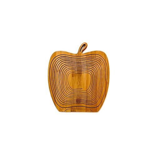 Lypum Apfelform Bambuskorb Faltbare Obstschale Trocken Halten Frisch Küchenwerkzeug (Apple)