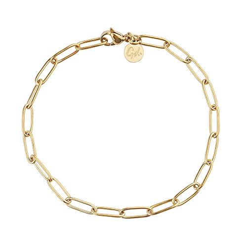 Good.Designs Gliederarmband für Damen I Ankerkette mit verstellbarem Hakenverschluss I Filigrane Gliederkette (Gold)