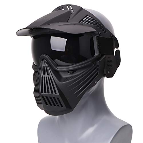 Rinling Paintball Mask, Airsoft Mask Full Face Protection Gear with Goggles Impact Resistant for Hunting CS Airsoft Paintball Game and Other Outdoor Activities (Black-Gray Lens)