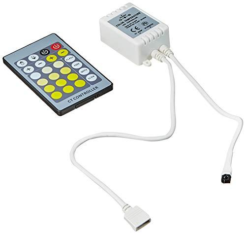 Cablematic - Controlador para tira de LEDs blanco bicolor de 6A con control remoto IR