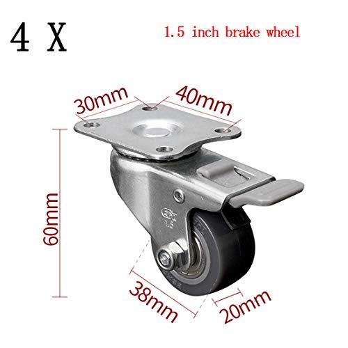 Mute Universal Wheel, Heavy Duty 38/50Mm Rubber Swivel Castor Wheels, Caster Wheels Double Ball Bearing No Noise Furniture Table Garage Trolley Load-Bearing 35Kg(C)
