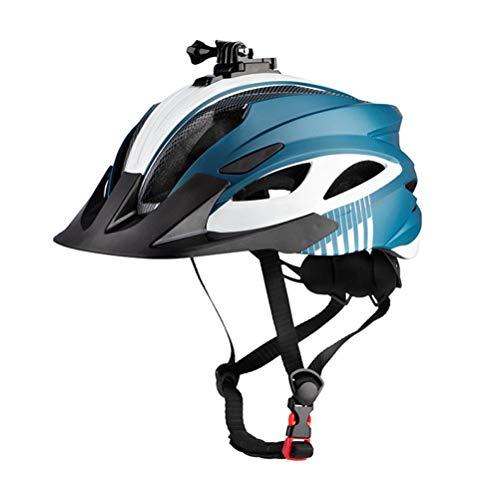 Casco de bicicleta, ajustable con adaptador de cámara deportiva, luz trasera y visera desmontable, cómodo y ligero para hombres y mujeres