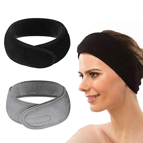 Pengxiaomei envoltura para maquillaje, diadema ajustable, toalla elástica, antideslizante, elástica, lavable, con cinta mágica, 2 unidades (negro gris)