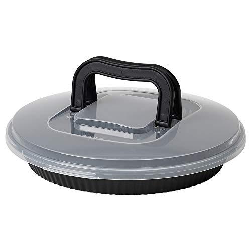 Plat à tarte avec couvercle noir - Dimensions : largeur 31 cm, profondeur 7 cm