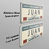 MEGADECOR Placa de Matrícula Decorativa de Aluminio o PVC Impreso de Estilo Vintage Americano Personalizado con Nombre Juan 8 Modelos (Oklahoma, PVC 5 mm)