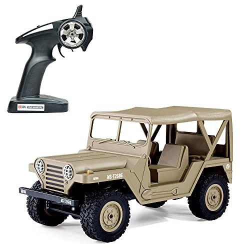 Control remoto Vehículo todoterreno con tracción en las cuatro ruedas 1:14 Escala completa Control remoto militar Control remoto Modelo de automóvil de escalada 15 km / h Regalos de automóvil de alta