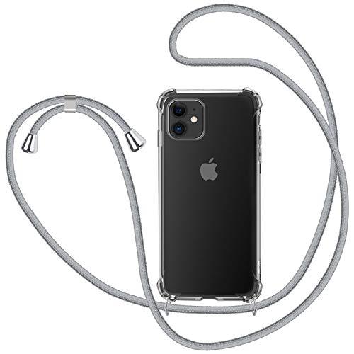 Funda con Cuerda para iPhone 11, Carcasa Transparente TPU Suave Silicona Case con Correa Colgante Ajustable Collar Correa de Cuello Cadena Cordón para iPhone 11 6.1'' - Gris