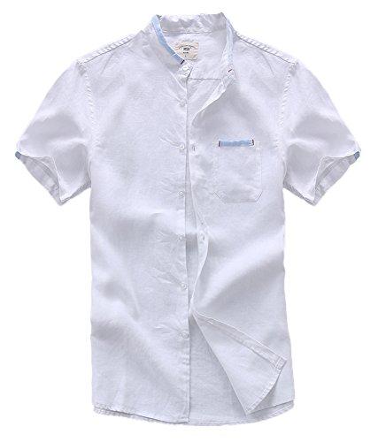 Insun Homme Été Chemise Casual en Lin Manches Courtes T-Shirt Décontractée Blanc FR 42