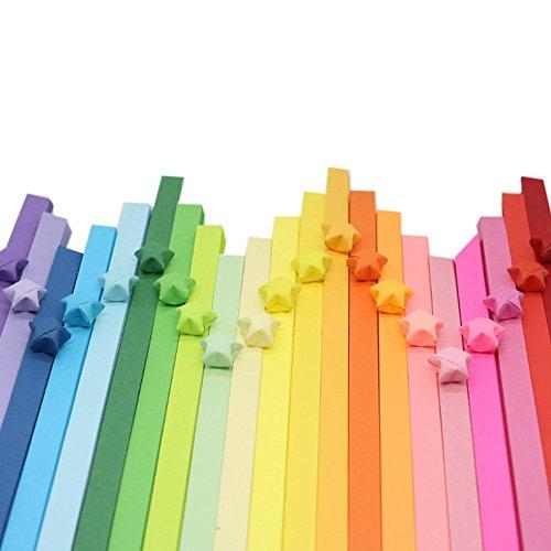 1080 Hojas Origami Tiras Colores Paple Plegable de Estrella Doble Cara Papel de Filigrana para Ninos Manualidades Artesanía Bricolaje Quilling,1 * 25cm(27 Colores)