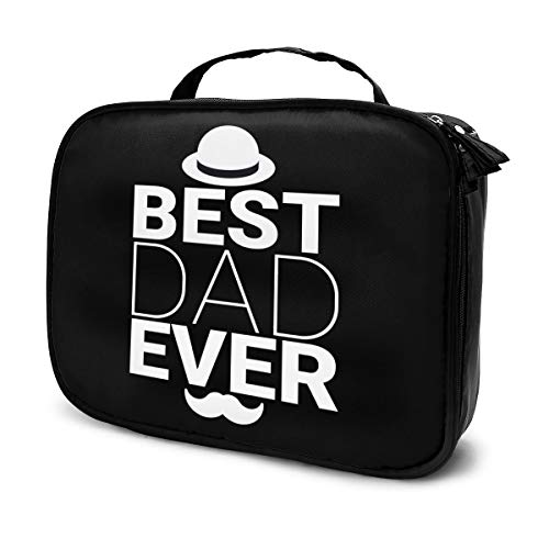 Best Dad Ever Portable Travel Makeup Case, Large Capacity Organizer Makeup Bag Cosmetic Train Case, Adjustable Dividers Toiletry Bag For Cosmetics Tools Toiletry Jewelry