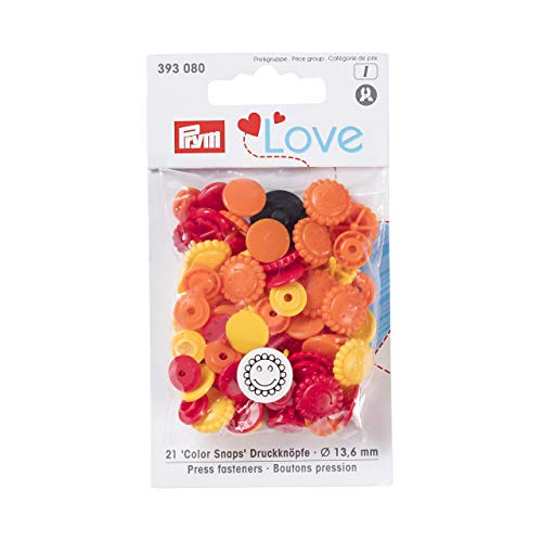 Prym Love Druckknopf Color Blume 13,6 mm gelb/rot/Gold, Polyester