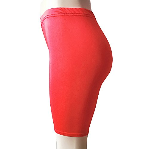 Jeash Women Solid High Elasticity Leggings Gym Active Dance Cycling Shorts Underwear Dress Shorts (Watermelon Red, L)