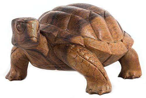 Windalf Vintage Deko Schildkröte Lucy 20 cm Holzfigur Dekofigur Feng Shui Harmonie Geschenk Glücksbringer Reichtum Handarbeit aus Holz
