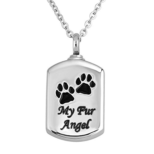 Uniqueen Pet Paw Prints Ashes Necklace Jewellery My Fur Ange Cremation Stainless Steel Urn Pendant Keepsake Memorial