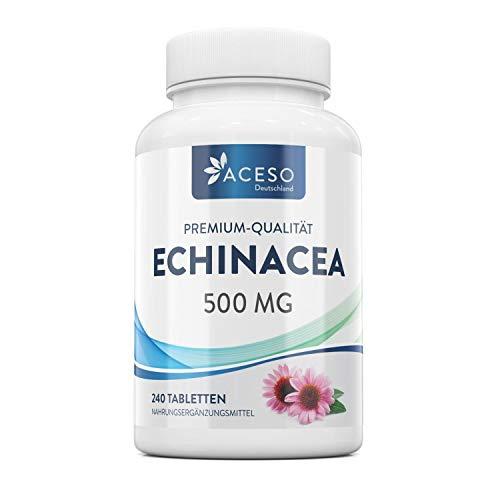 Natürliche Echinacea 500 mg | 240 hochkonzentrierte vegane Tabletten | Zur Bekämpfung von Erkältung und Grippe| Stärkt das Immunsystem | Von Aceso