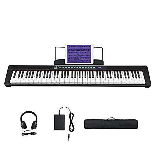Starfavor 88-Key Beginner Digital Piano Electronic Keyboard with Semi-Weighted Keys, Sustain Pedal, Power Supply, Carrying Case, Electric Keyboard SEK-88A