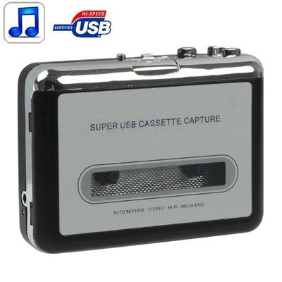 Emperor of Gadgets Tape to PC Super USB Cassette-to-MP3 Converter Capture Audio Music Player with Headphones