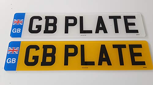 PREMIUM Pair of GB EURO Road Legal MOT Compliant Number Plates For Cars Vans Trailers - Fixing Kit Included