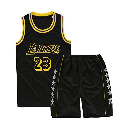 Camiseta De Baloncesto Camiseta De La NBA Lebron James # 23 Lakers Camiseta Y Pantalones Cortos De Baloncesto Traje De Jersey Para Niños, Traje Deportivo De Malla Transpirable,Negro,2XL:160~165cm
